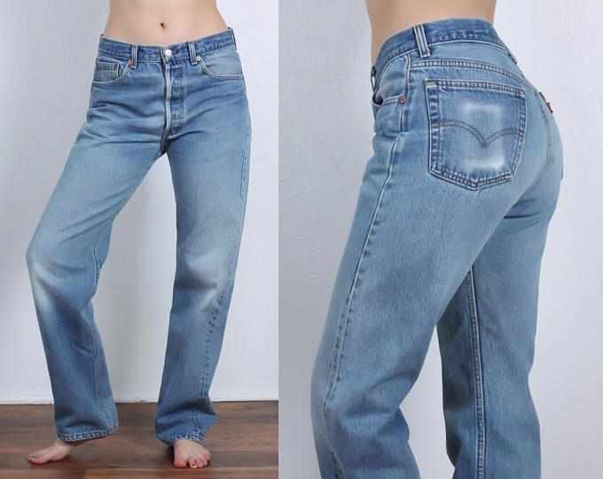 80s Levis 501 Jeans Vintage Denim Pants Straight Leg High Waist Mom Jeans 33 X 32 Womens Medium Levi Jeans 501 Mom Jeans Denim Pants