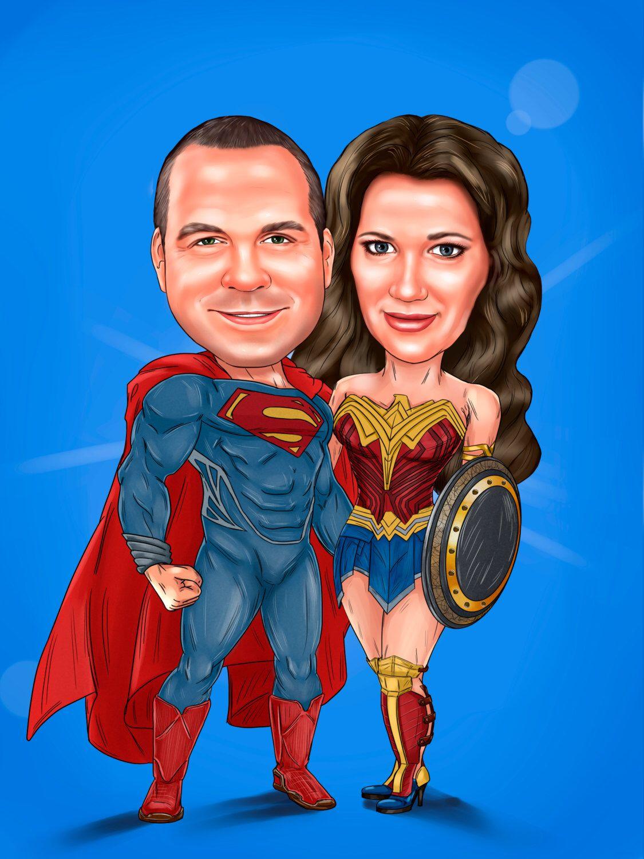 couple superhero portrait from your photo superhero wedding