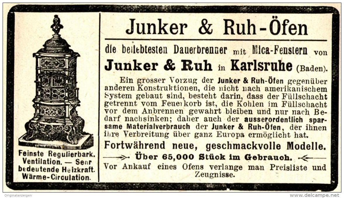 Original-Werbung/ Anzeige 1898 - JUNKER & RUH ÖFEN - KARLSRUHE - ca. 90 x 50 mm | Karlsruhe, Werbung, Ruhte