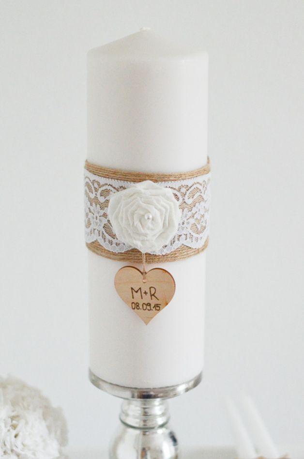 Hochzeitskerzen & Beleuchtung - Hochzeitskerze personalisiert - Jute ...