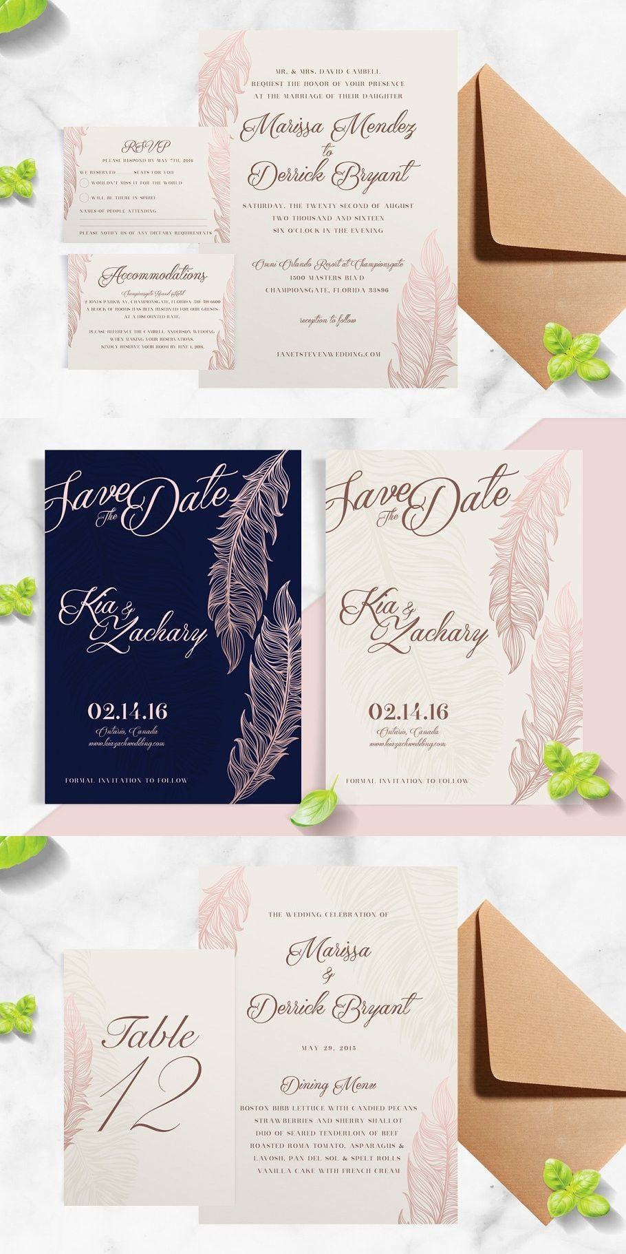 Navy Rose Gold Feather Wedding Suite Feather Wedding Invitation Original Wedding Invitations Feather Wedding