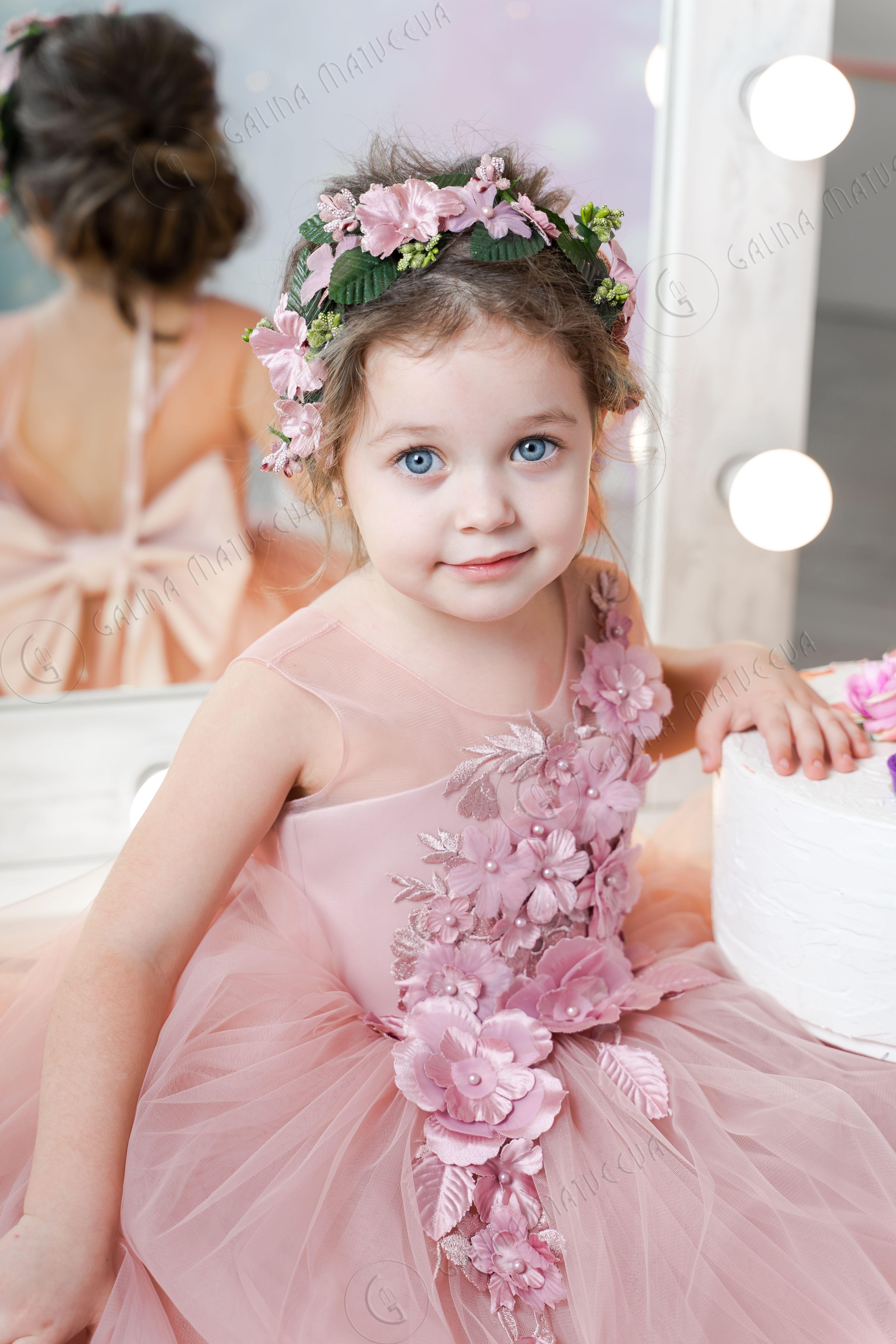Blush flower girl dress vneckline back bow dusty rose