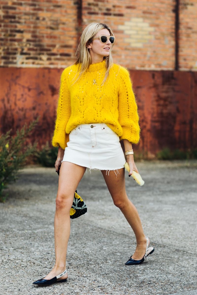 Fashion Inspiration: Camille Charrière in White Denim Mini Skirt and A  Sunshine Yellow Chunky Knit. | Cool Chic Style Fashion