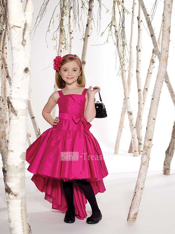 Fuchsia Square A Line Asymmetic Taffeta Flower Girl Dress Hot Pink