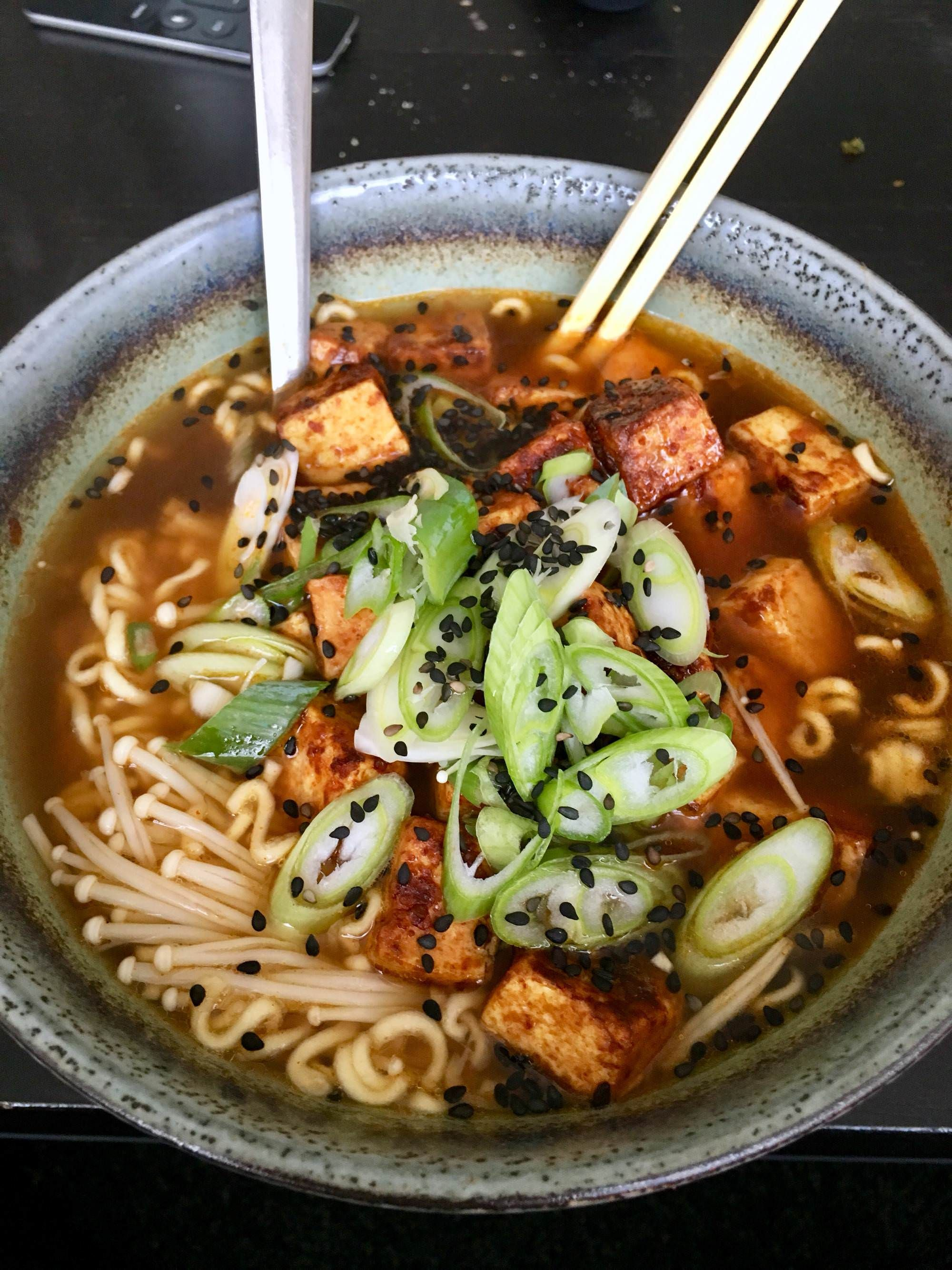 Vegan Ramen With Marinated Tofu And Enoki Mushroom Healthy Food Facts Marinated Tofu Healthy Dinner Recipes Easy