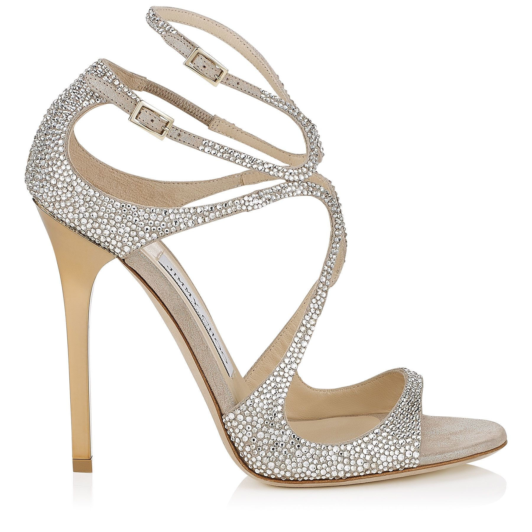 Lance Strappy Sandals in Nude Suede with Crystals Discover our