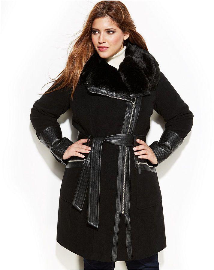 a67fb887e90 Via Spiga Plus Size Mixed Media Faux-Fur-Trim Belted Wool Coat on  shopstyle.com
