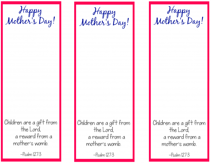 Free Printable Bookmark Craft For Mother S Day Mothers Day