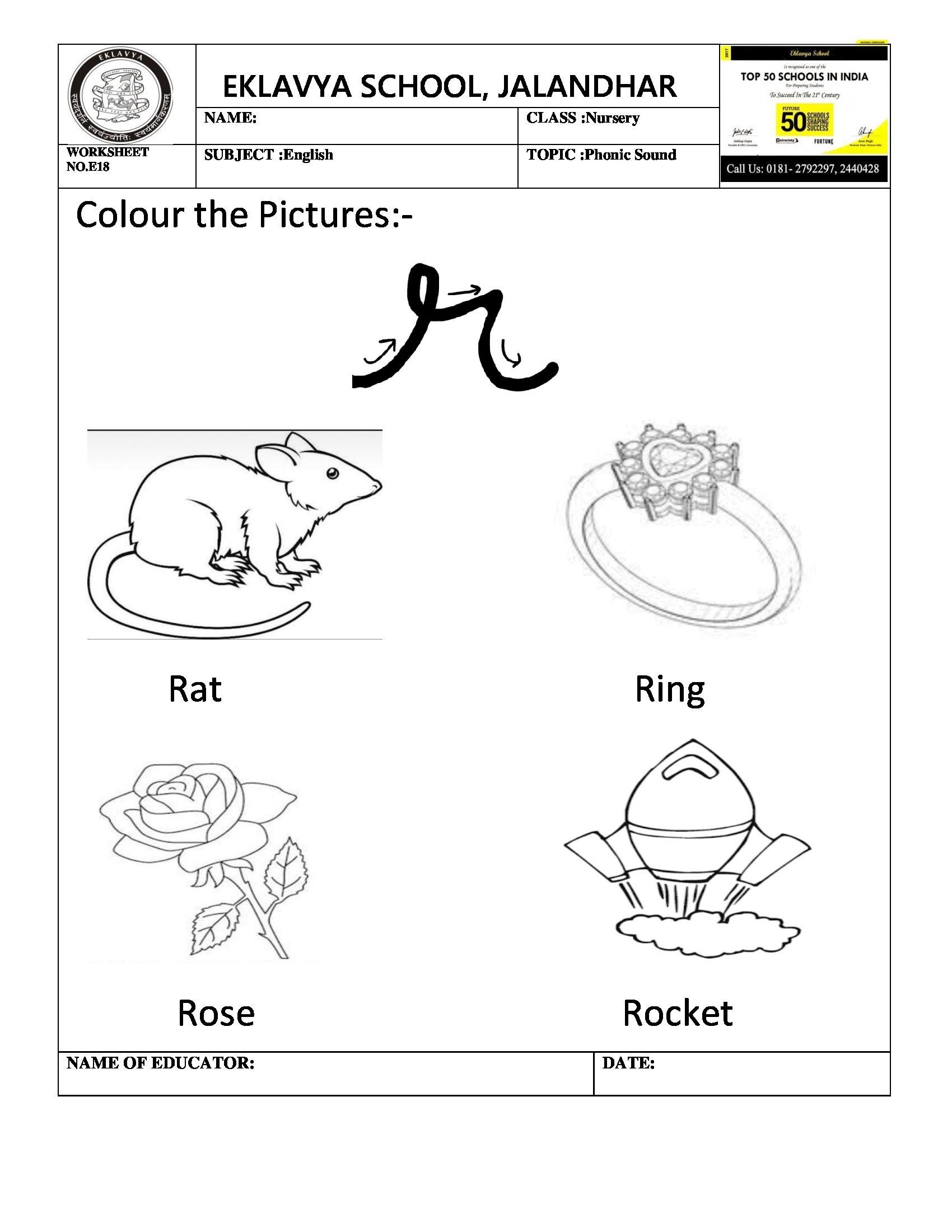 Worksheet on phonic sound \' r \' | Pre- Primary Worksheets ...