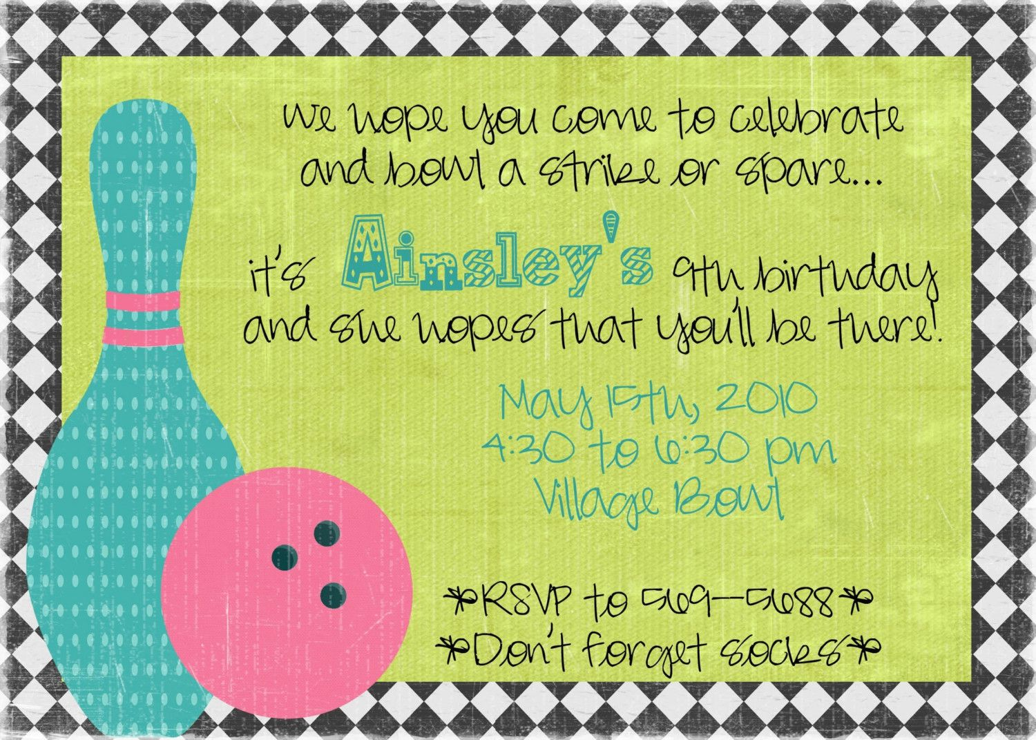 Cool bowling design invite for a kids birthday party | Kiddies ...