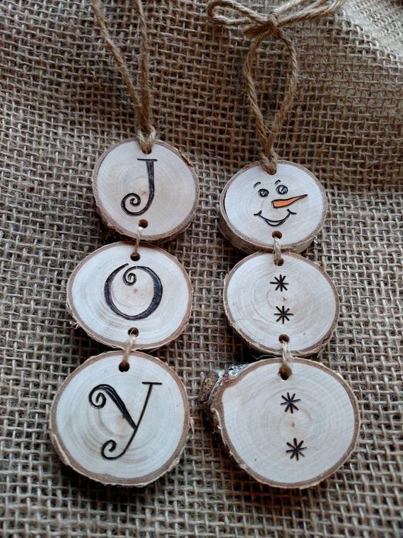 Wood Burned JOY Christmas Ornaments