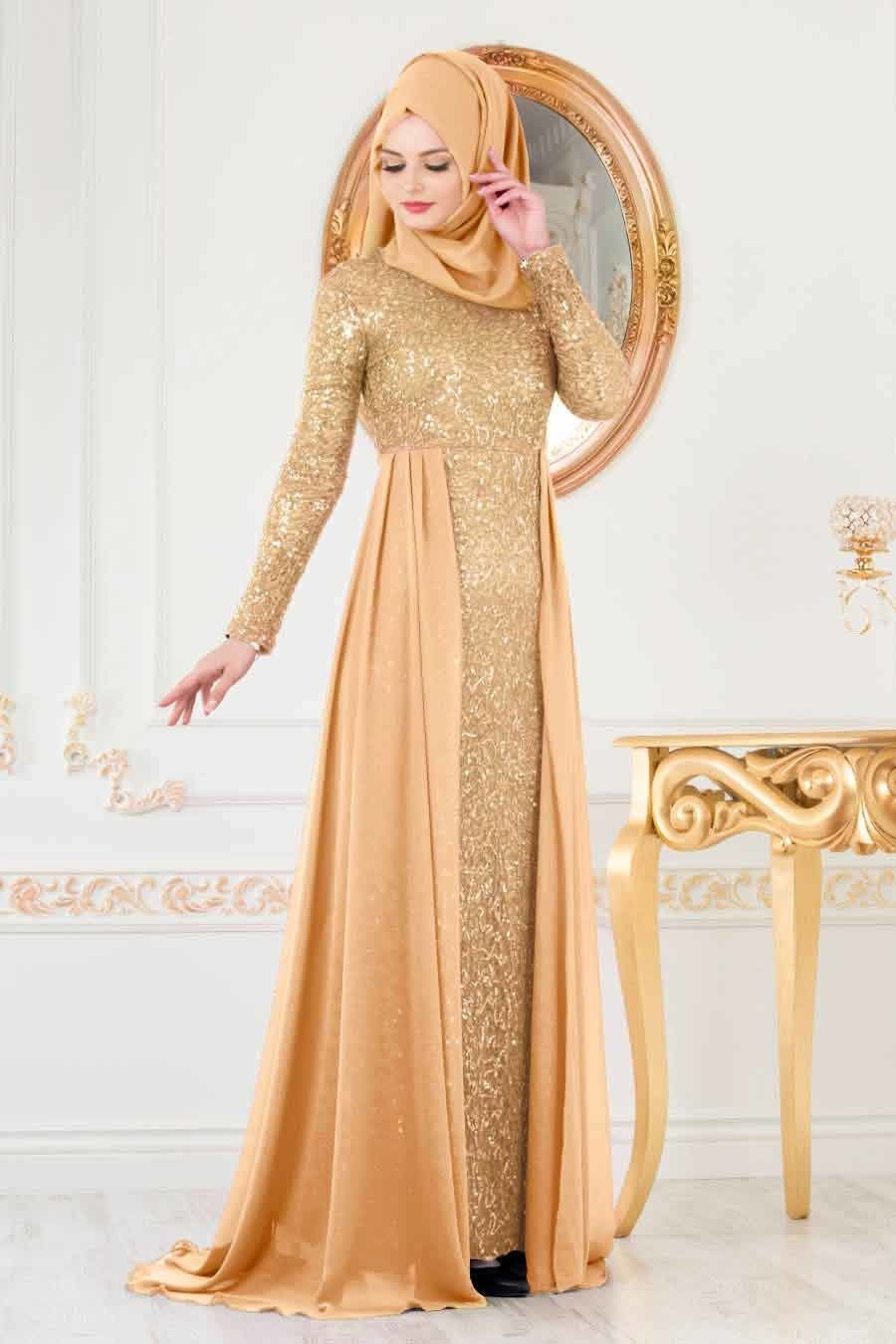 Nayla Collection Pullu Gold Tesettur Abiye Elbise 90000gold Tesetturisland Com Elbise Elbiseler The Dress