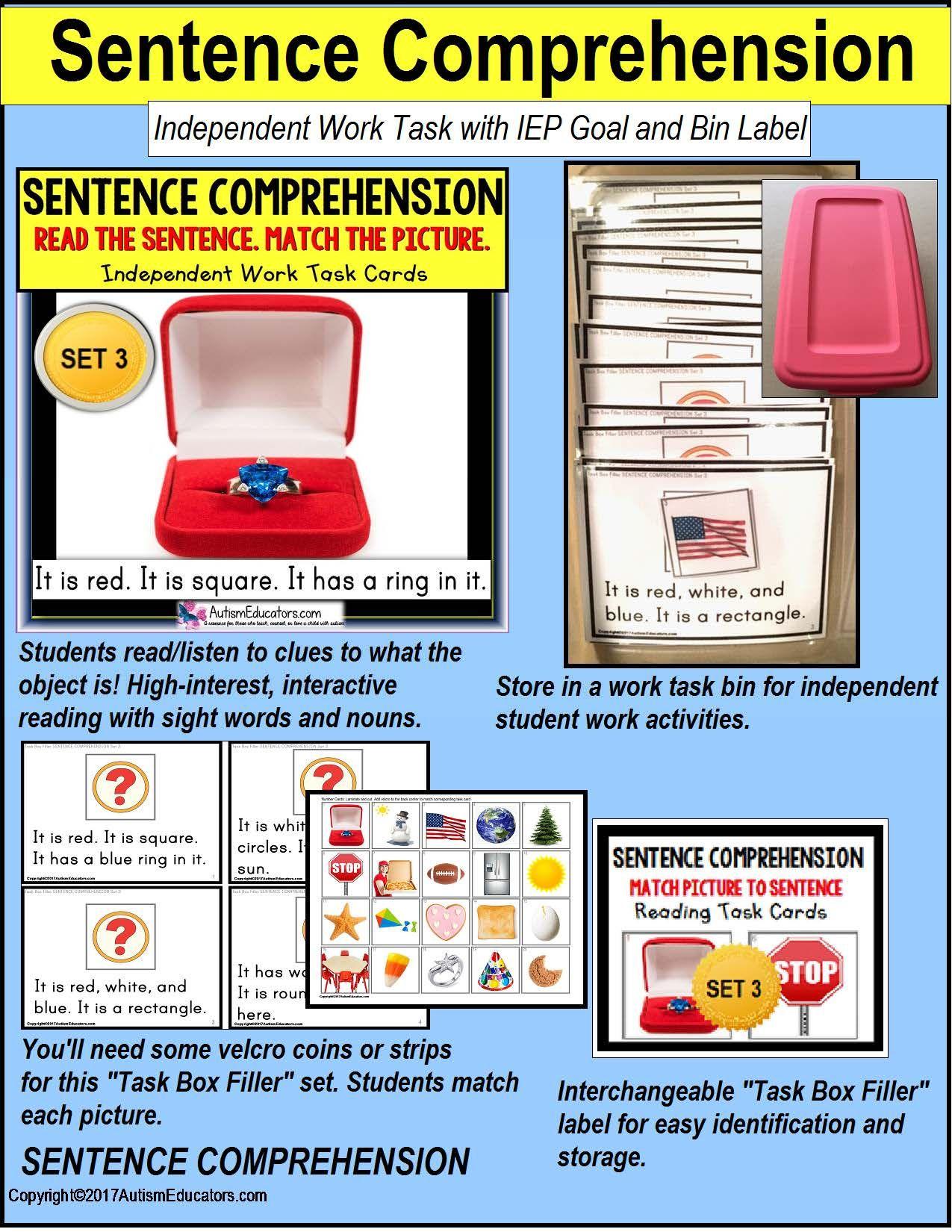 Sentence Comprehension Reading Task Cards For Autism Task