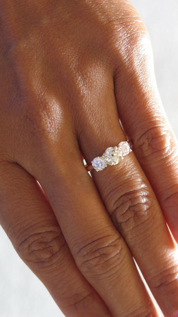 STUNNING! Gorgeous Vintage 1.05 Carats, Three Stone Diamond Ring in Rose Gold. OEC & Round Brilliant Cut Diamonds.