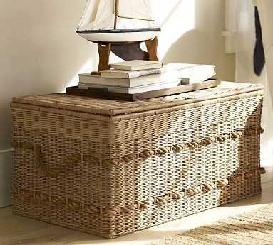 Family Room Coffee Table With Storage Woven Trunk With Rope Handles - Woven trunk coffee table