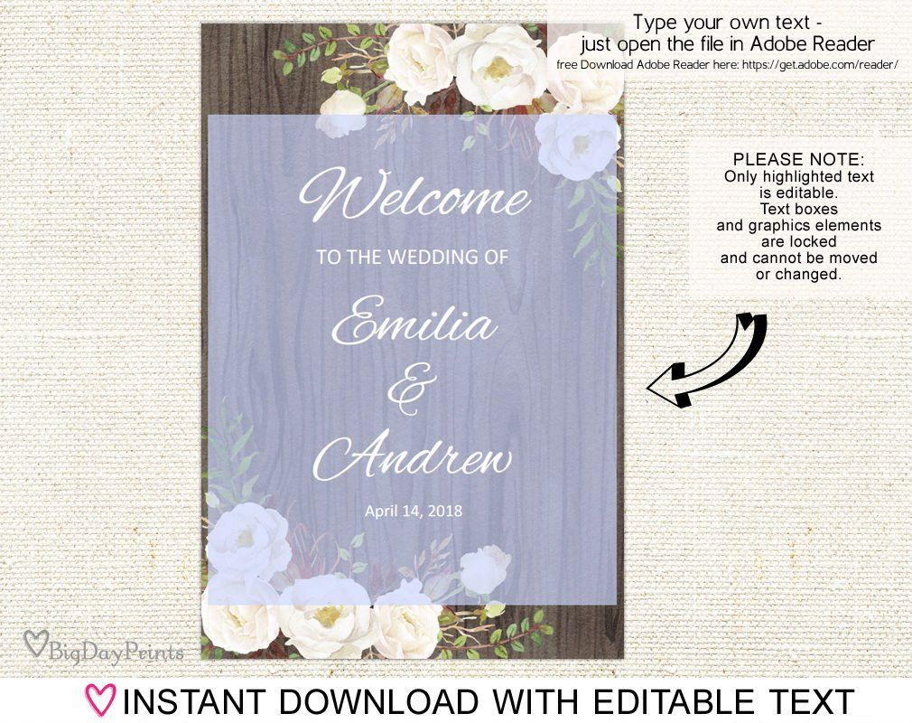 welcome wedding sign rustic welcome wedding sign template