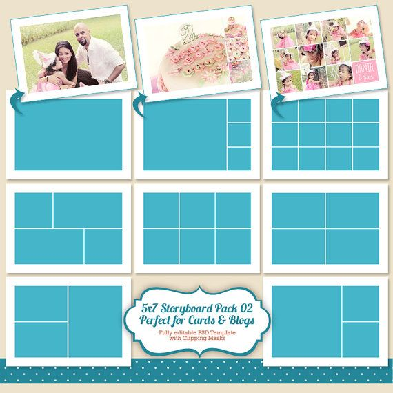Instant Download 5x7 Photo Card Template, Storyboard Template - digital storyboard templates