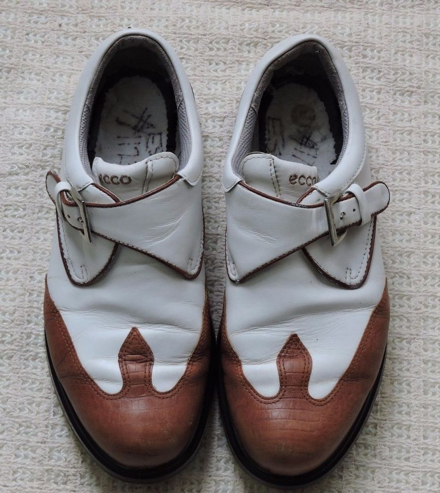 Ecco women white brown arch support golf shoes size 39