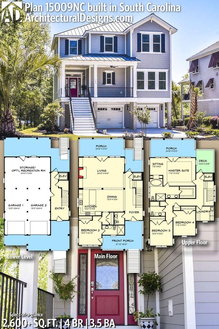 #15009NC  #adhouseplans  #architecturaldesigns  #houseplan  #architecture  #newhome  #newconstruction  #newhouse   #homedesign  #dreamhome  #dreamhouse  #homeplan  #architecture  #architect  #housegoals  #beachhome  #vacationhome #Designs #House Architectural Designs House Plan 15009NC built by our friends in South Carolina   4BR   3.5BA   2,600+SQ.FT.   Ready when you are. Where do YOU want to build?