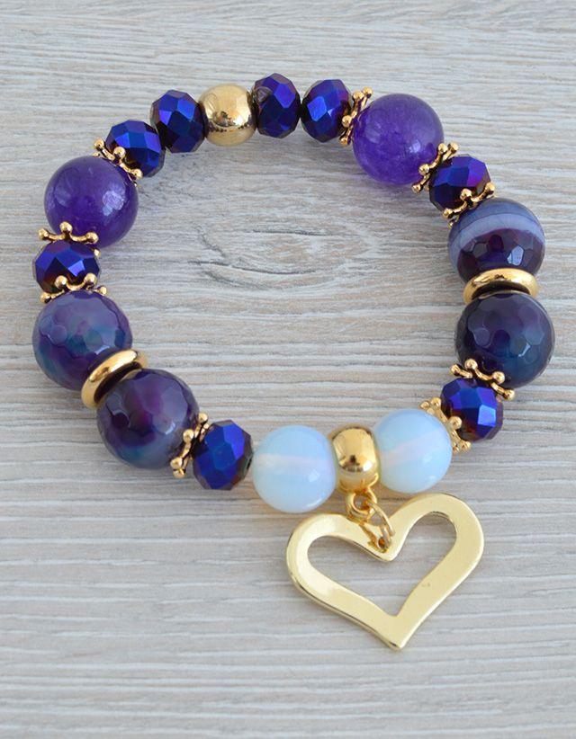 Pulseras pulsera agatas morada bisuteria pinterest bracelets pulseras pulsera agatas morada gemstone braceletsjewelry braceletsdiy solutioingenieria Gallery