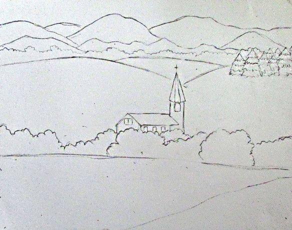 Color Pencil Landscape Drawing | Crafts | Pinterest ...