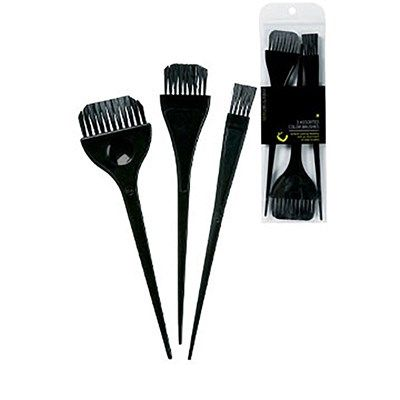 3 Pack Assorted Color Brushes Black Professional Beauty Products Perfect Hair Color Brushed Black