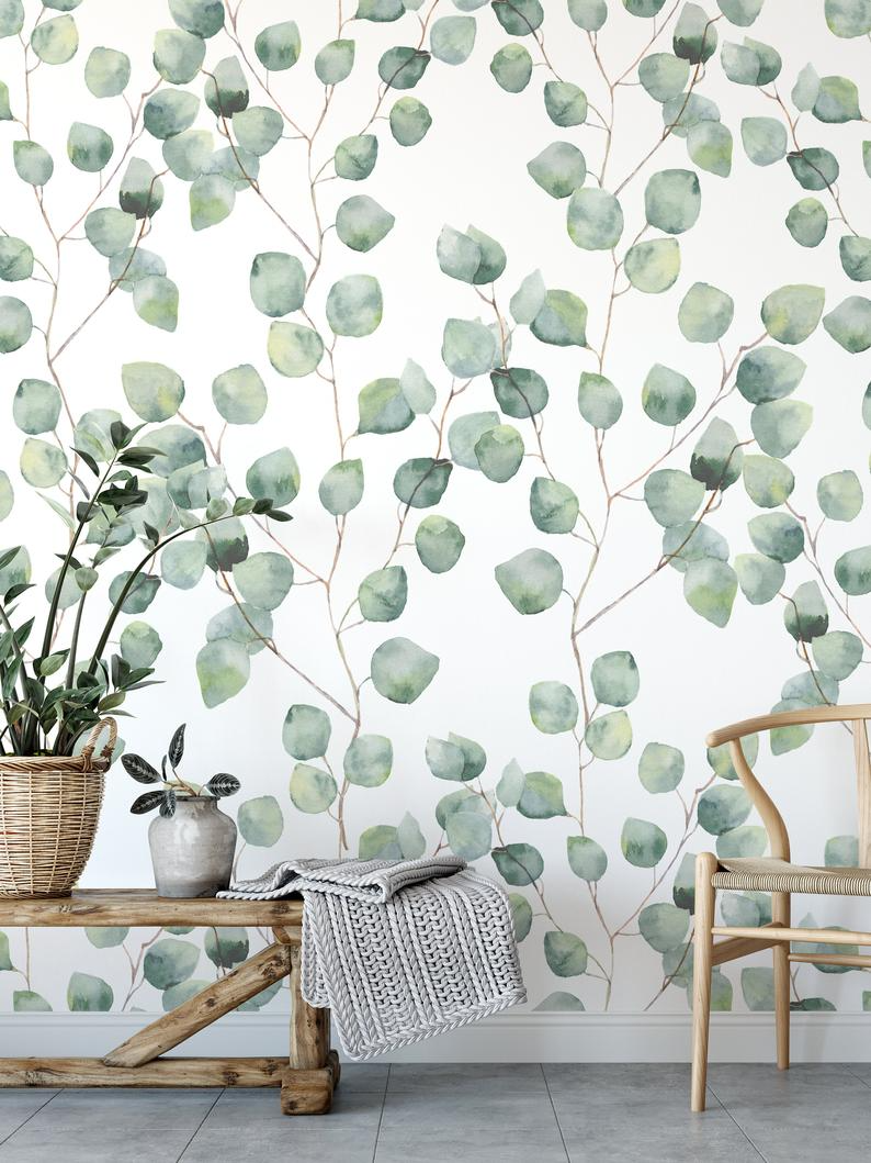 Watercolor Floral Wallpaper Removable And Self Adhesive Peel Etsy Watercolor Floral Wallpaper Floral Wallpaper Peel And Stick Wallpaper