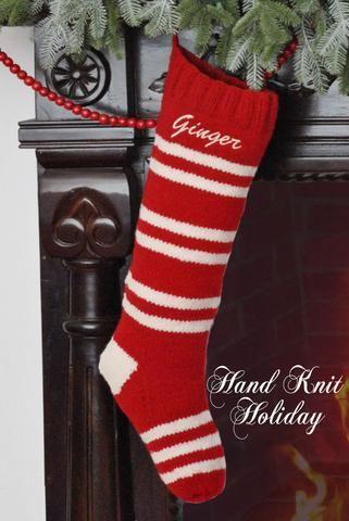 Red  White 6-Stripe Hand Knit Christmas Stocking Shopify Merchant