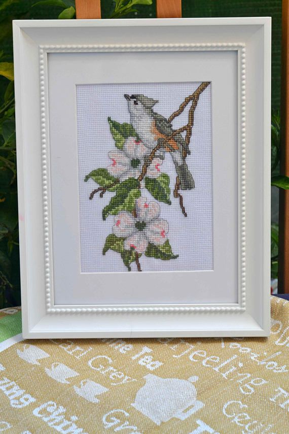 Bird Cross Stitch Framed Picture Tufted Titmouse sitting on the ...