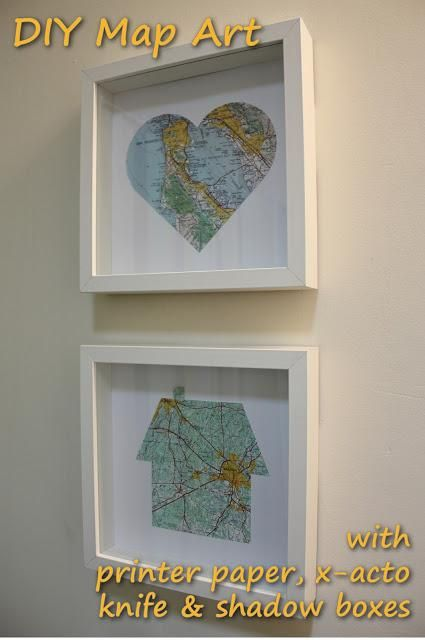 Apartment DIY Map Wall Art I like the idea of the heart showing