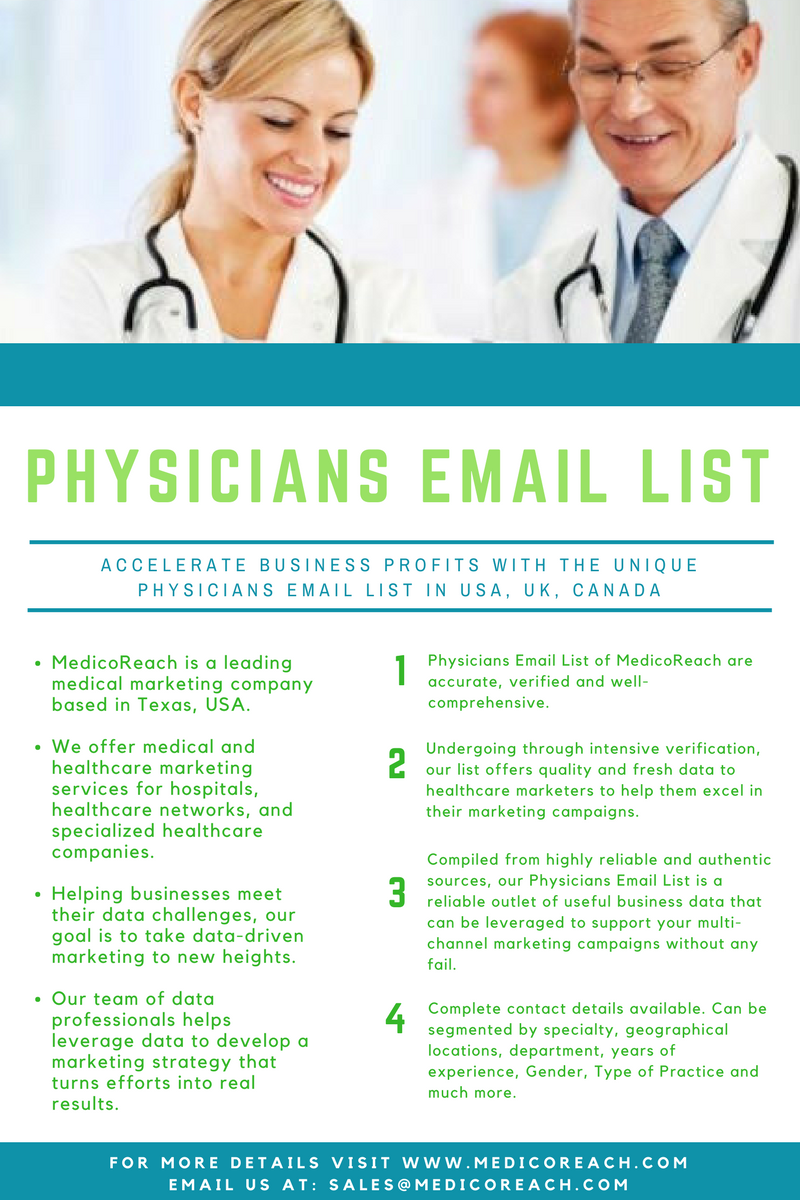 Get physicians email lists worldwide. Request a free