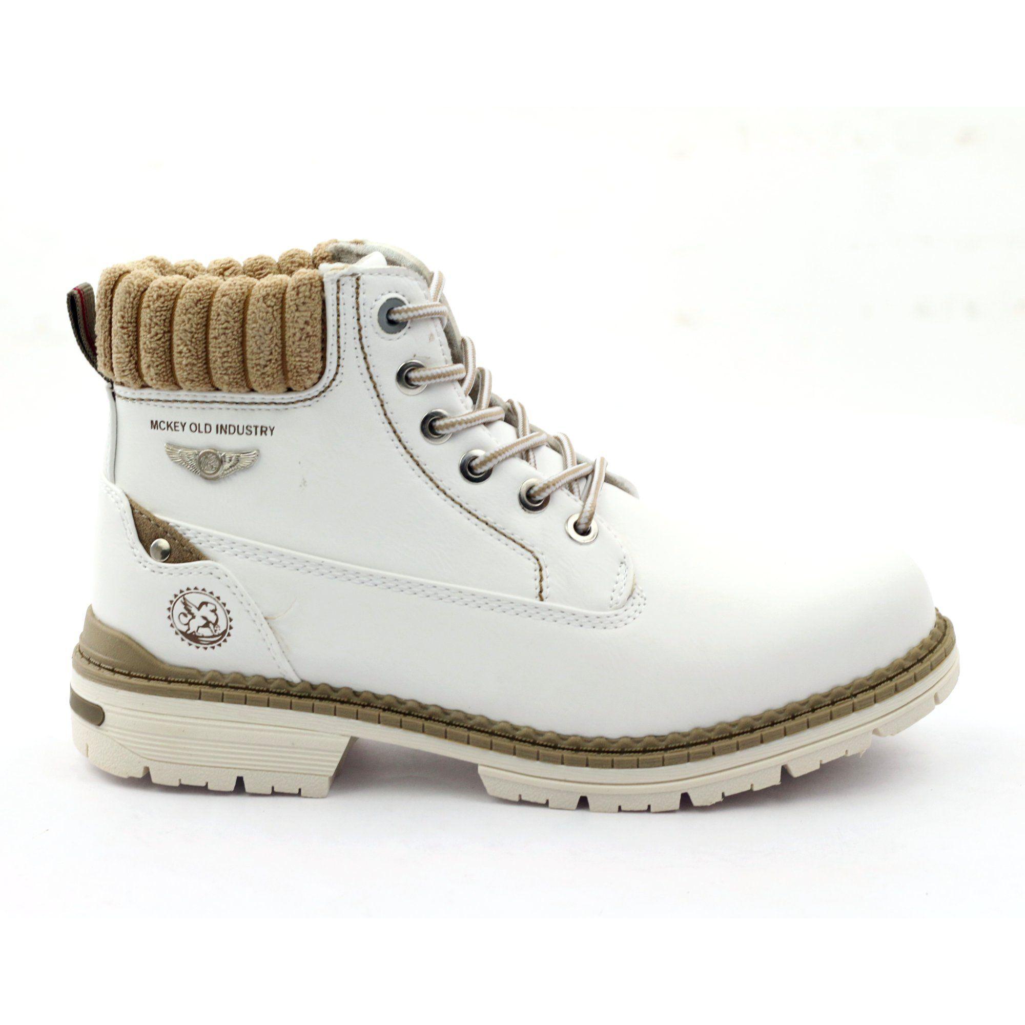 Mckey Trzewiki Zimowe Sznurowane 400 Biale Gents Shoes Boots Winter Boots