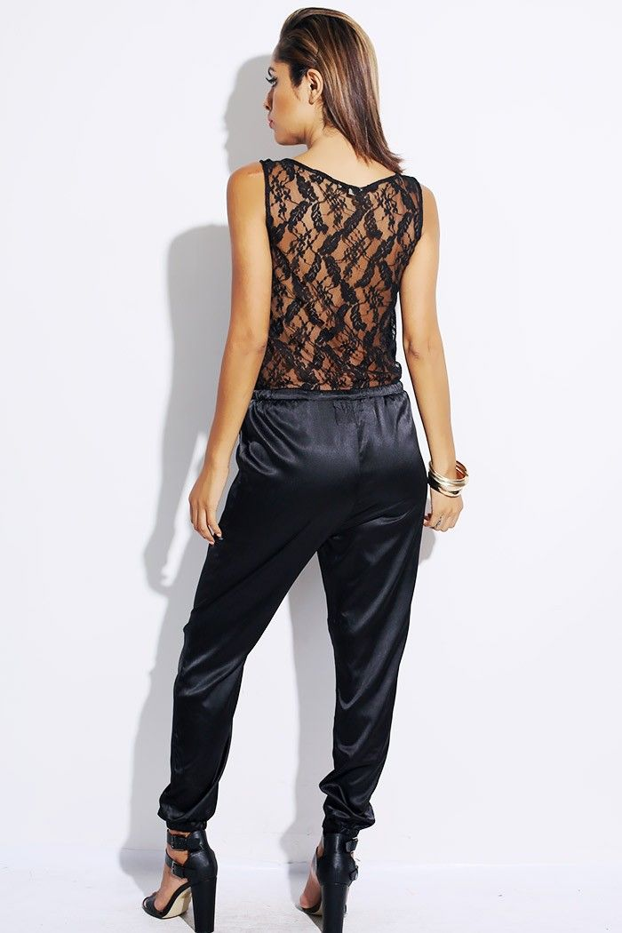 701bbe22aa0  1015store.com  fashion  style black satin lace back military jumpsuit - 15.00