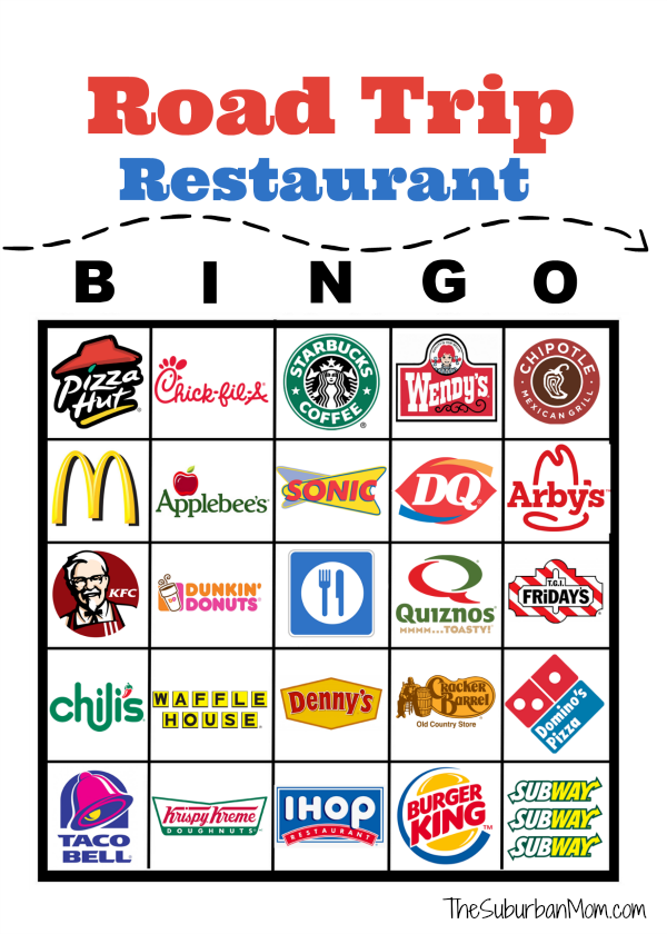 Road Trip Restaurant Bingo Free Printable Road trip fun