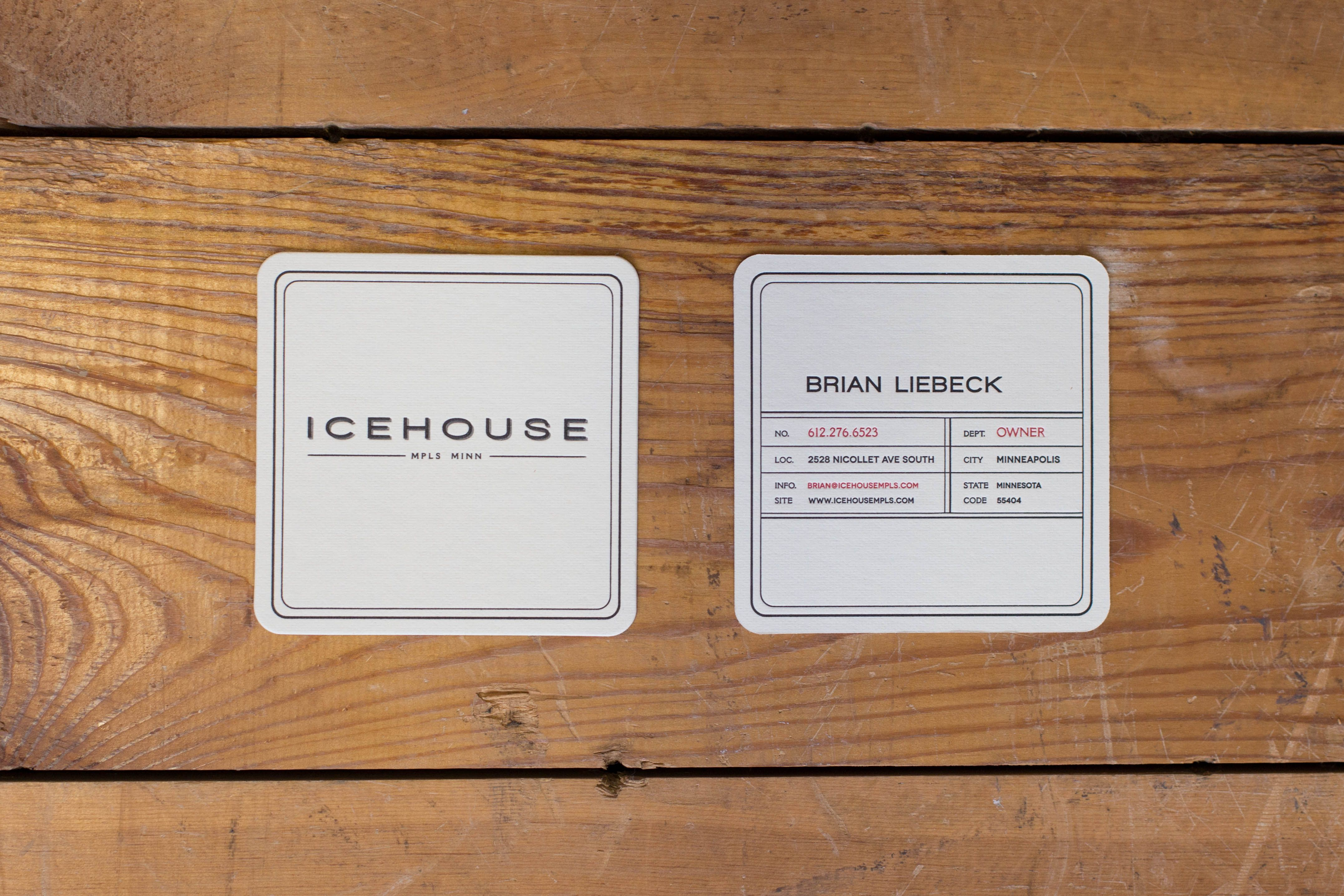 Nice 2 color coaster business cards for Icehouse in Minneapolis ...