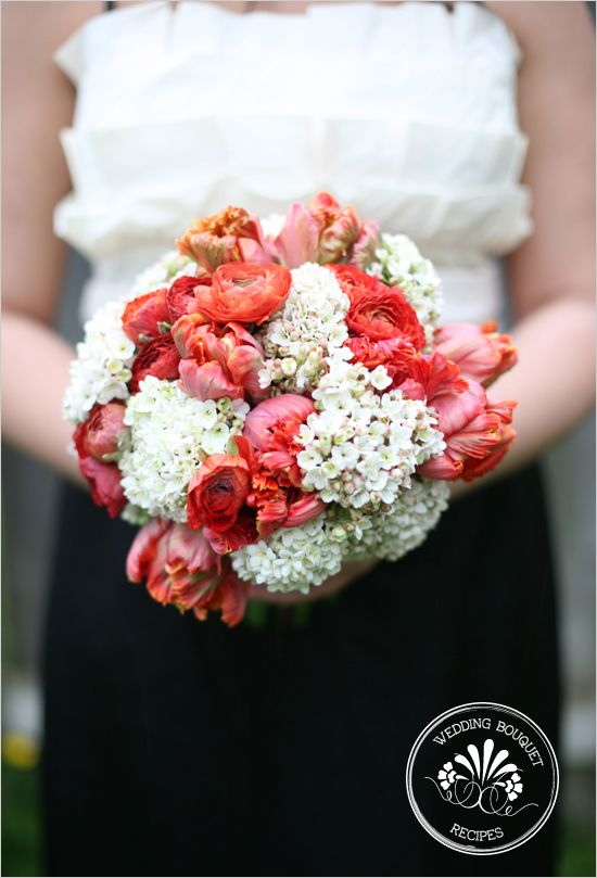 Orange & Ivory Bouquet  Dark Orange Ranunculus {10 stems}  Dark Orange Parrot Tulips {10 stems}  White Bouvardia {10 stems}