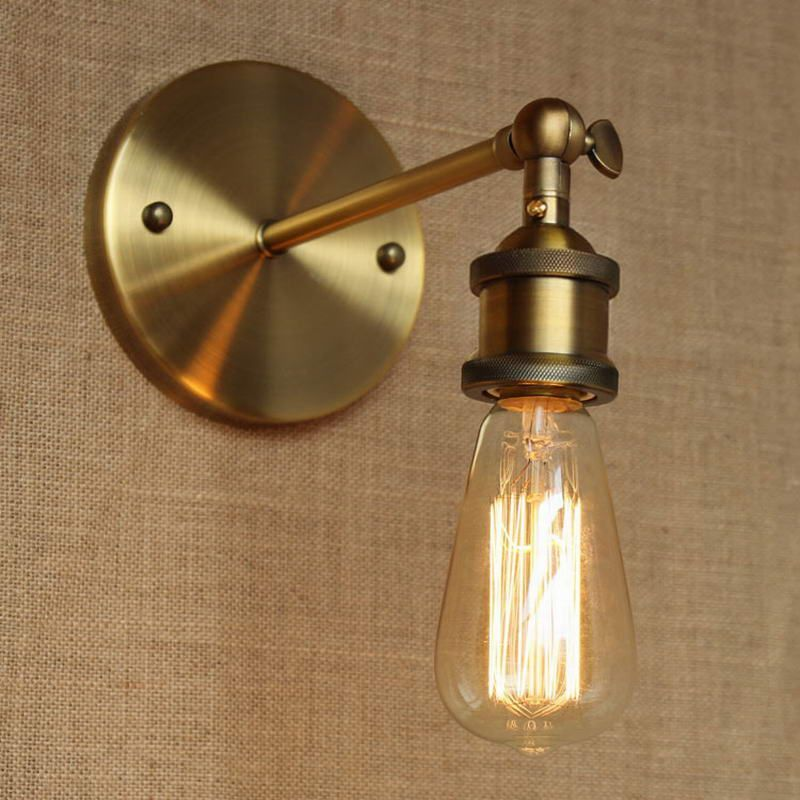 LOFT lamp discount lighting antique gold metal wall lamp/industrial ...