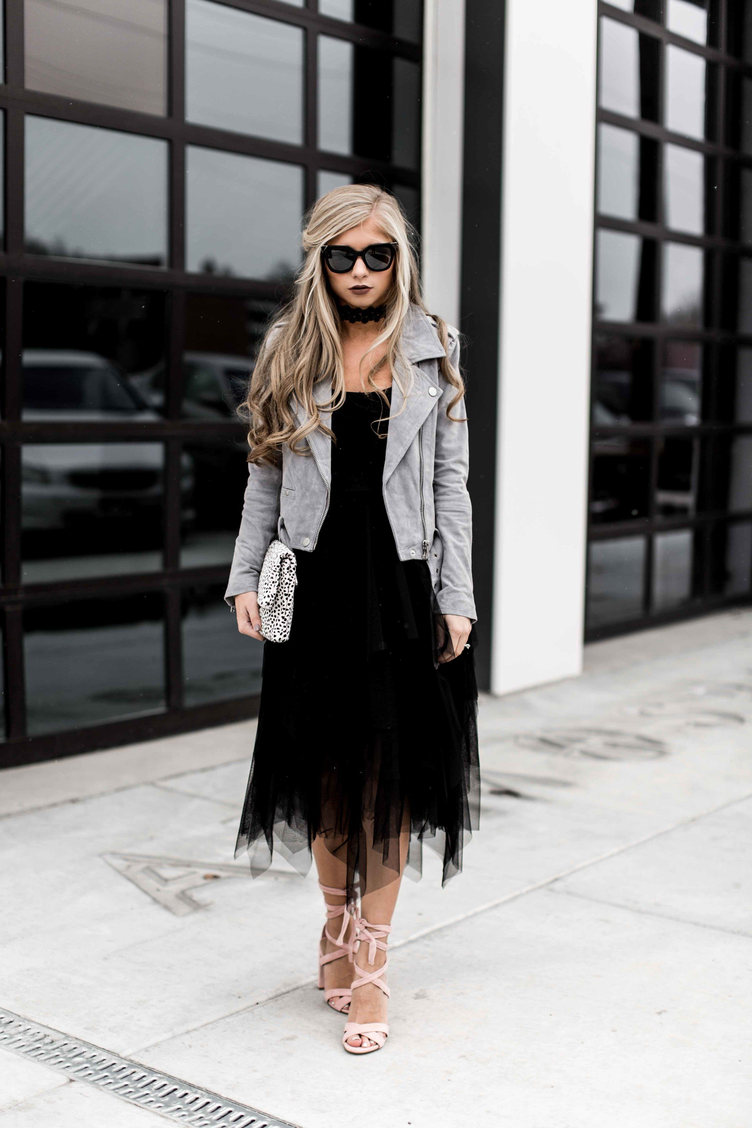 holiday look, edgy, strappy heels, steve madden, tulle skirt, bailey44, fendi, cat eye sunglasses, holiday hair, holiday makeup, moto jacket, blank nyc, blonde, half up, blonde hair, hair, jessakae