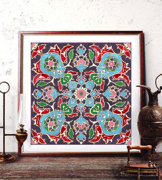 Traditional Ottoman Tulip Watercolor Wall Art Turkish Floral: Traditional Tile Wall Art, Ottoman Floral Watercolor
