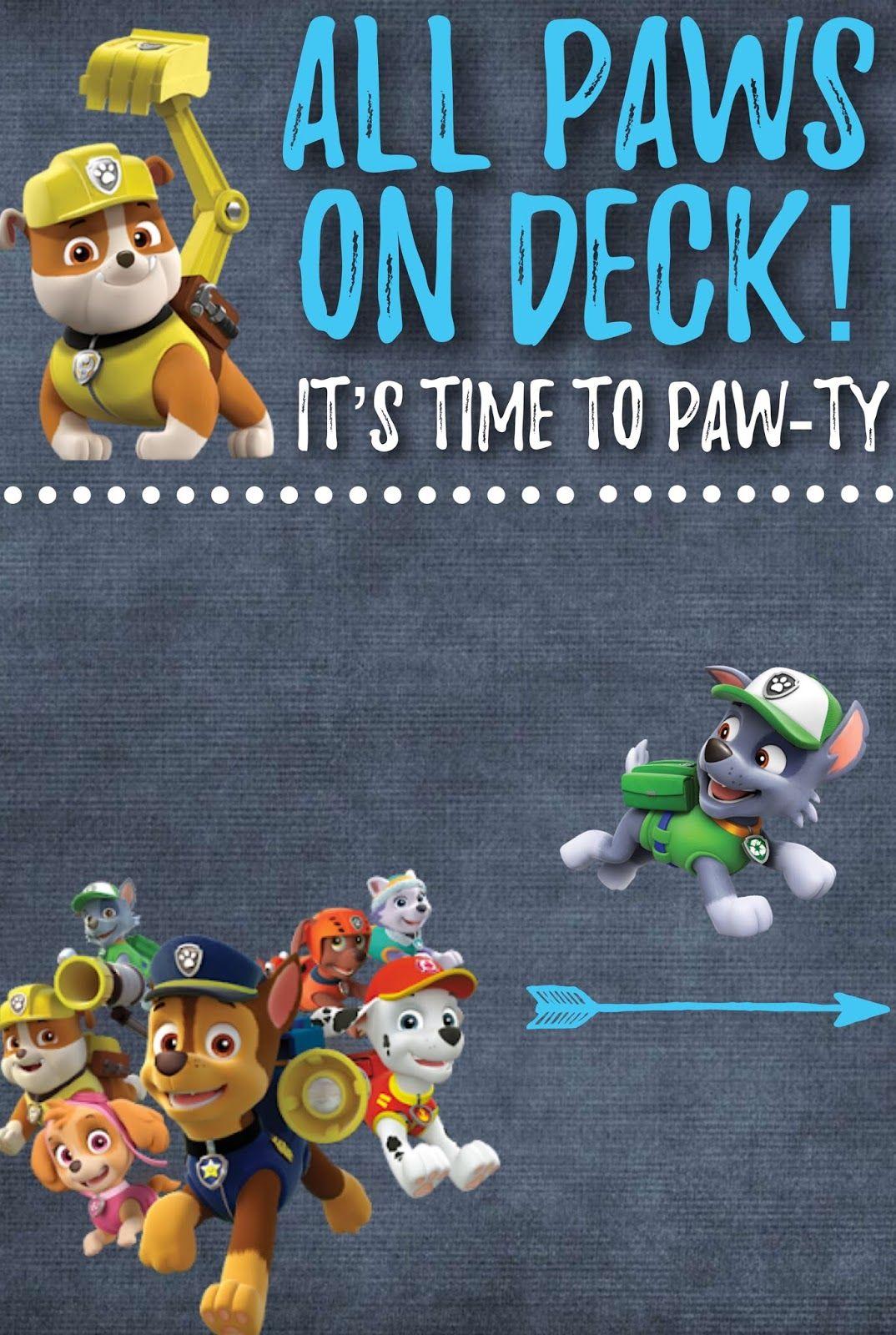 paw patrol invite free printable  paw patrol birthday
