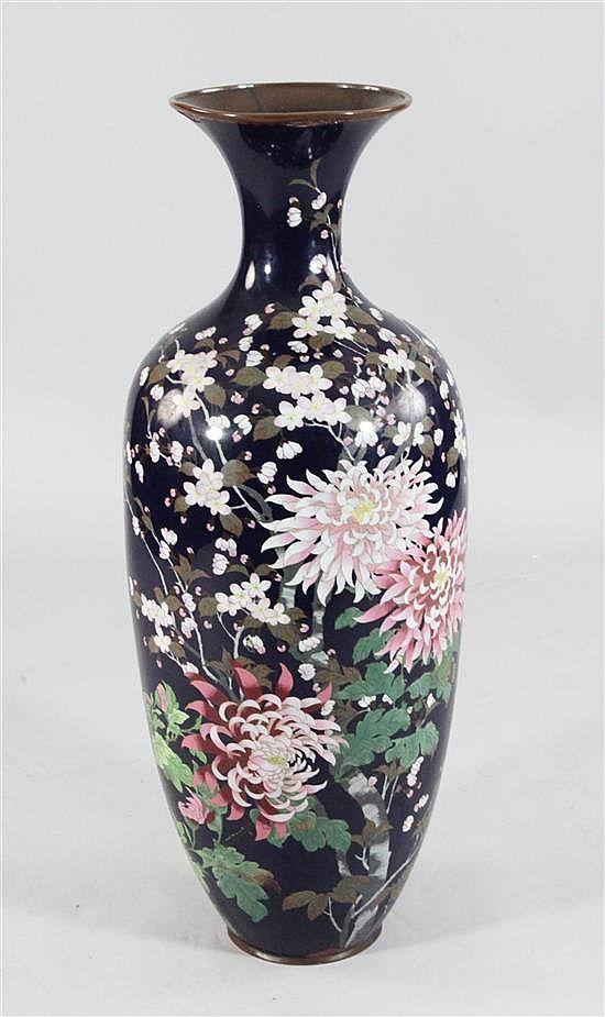 A Large Japanese Cloisonne Enamel Ovoid Vase Meiji Period