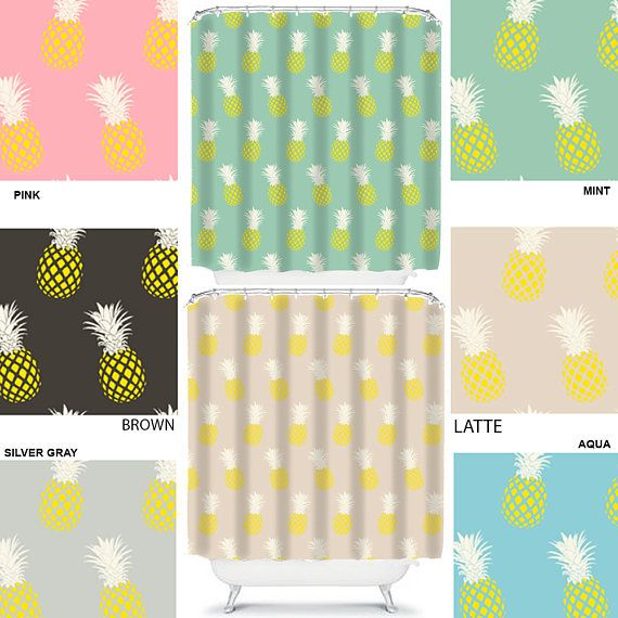 pineapple shower curtain retro bathroom decor teen shower curtains ...