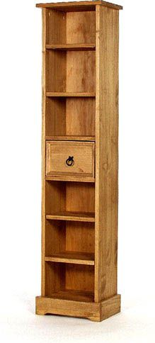 Rustic Narrow 6 Shelf Bookcase With Centre Drawer Ideal As A Cd Dvd Storage Tower