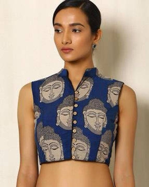 efe2e495e4aad Custom made kalamkari buddha print blouse with high collar and wood buttons