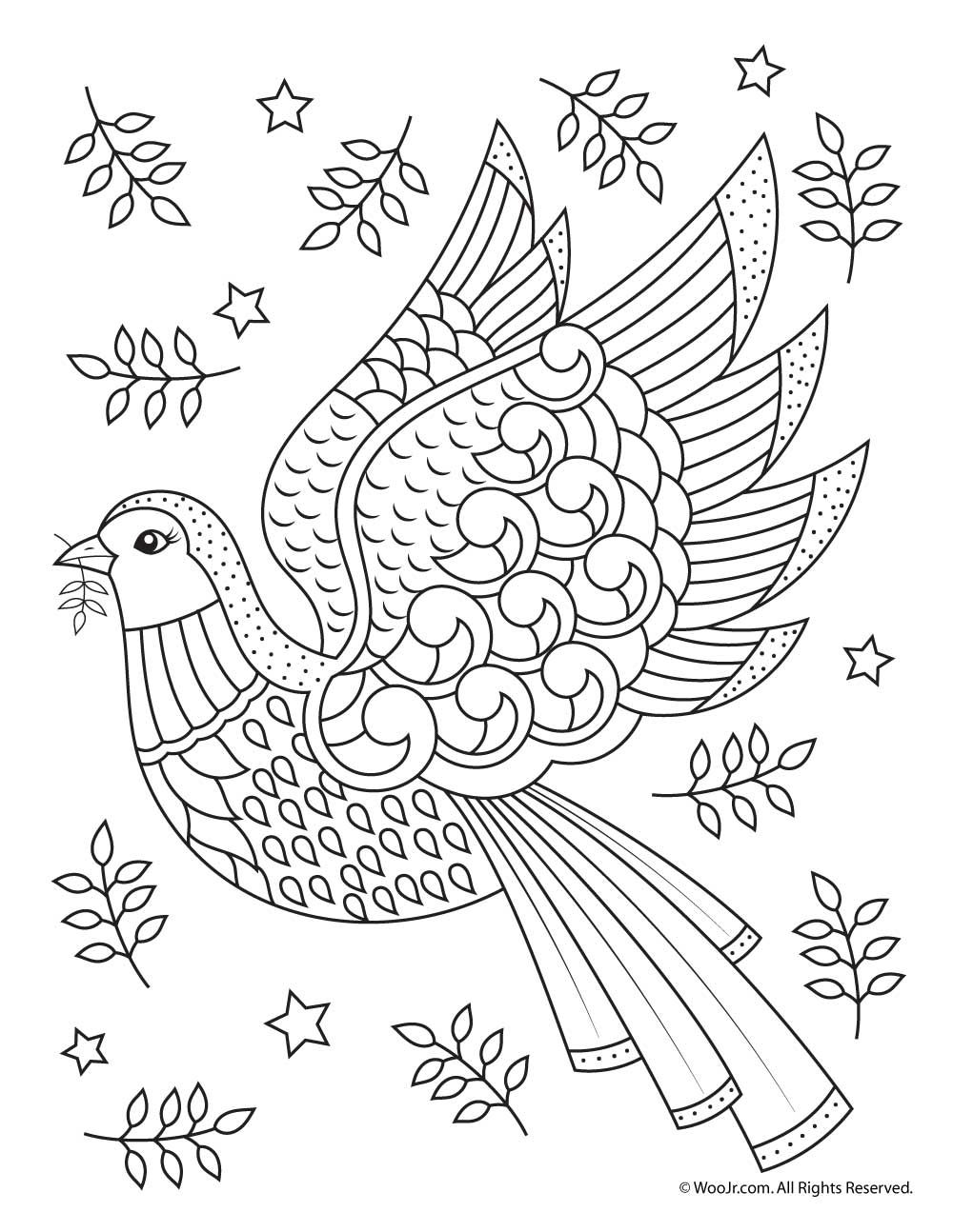 Beautiful Printable Christmas Adult Coloring Pages Bird Coloring