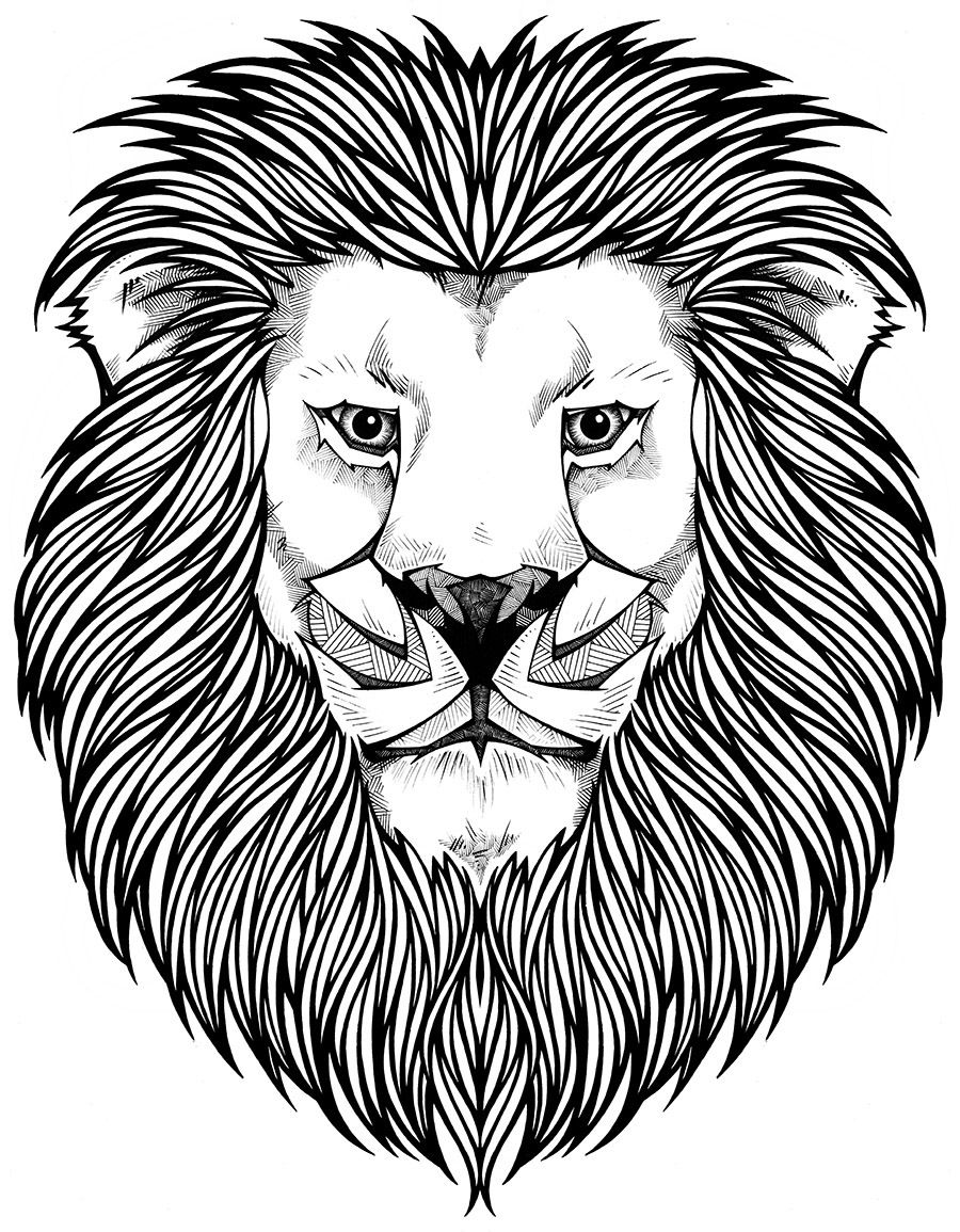 Coloring Page/ Lion | Tattoos | Pinterest | Lions, Adult coloring ...