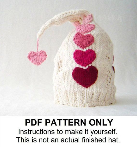 Knit Hat Knitting Pattern Valentines Day Hat by FiddlestyxStudios ...