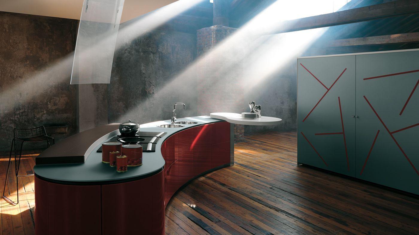 European Kitchen Brands Artematica Curva Gloss Red Glass By Valcucine Kitchen Dining