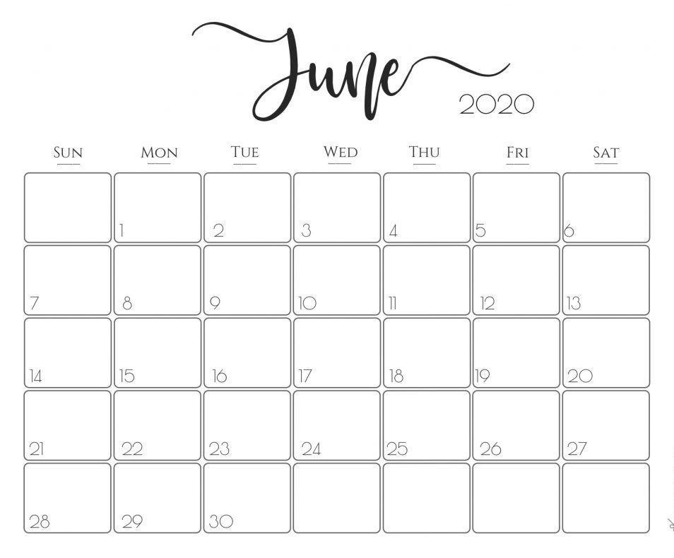 Print June Calendar 2020 Free Blank Editable Template Pdf Word