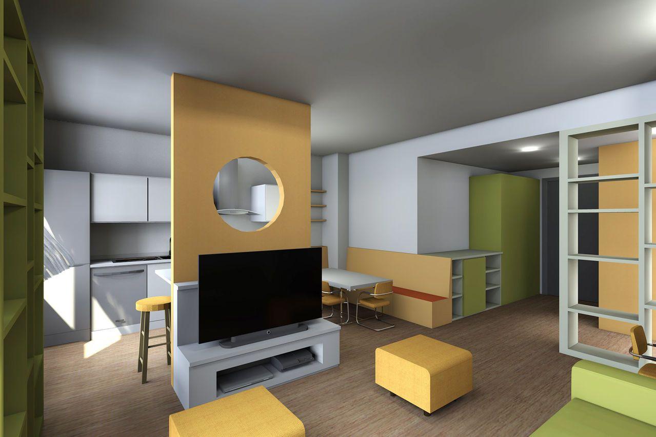 Disposizione cucina salone living design pinterest for Arredamento salone